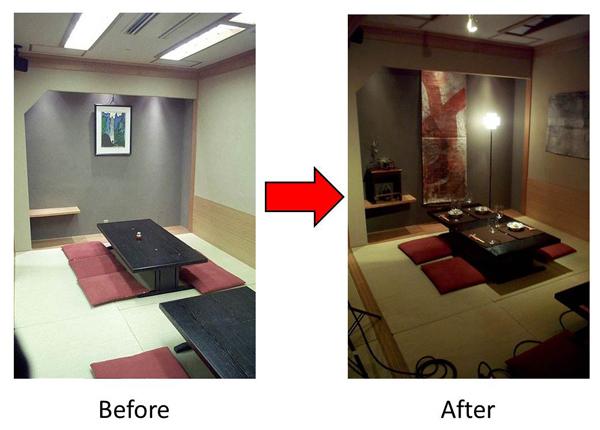 蛍光灯の照明をやめて暖かい色のモノに変えた 間接照明も使うと、落ち着いた空間になる