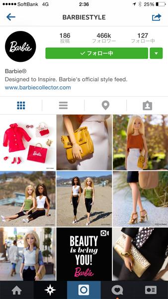 バービー人形の公式Instagram