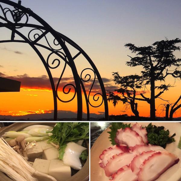 夕日もきれい 湯豆腐もタコ刺しも美味しい